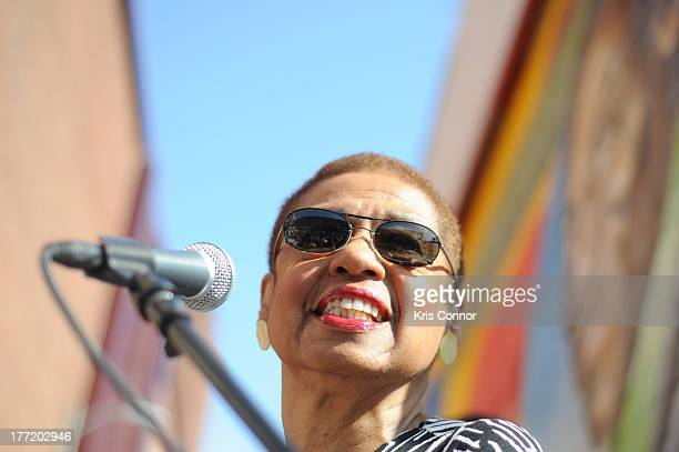 Eleanor Holmes Norton speaks during the 55th Anniversary of Ben's Chili Bowl on August 22 2013 in Washington DC
