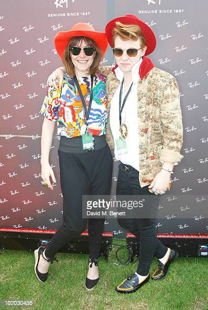 Eleanor Jackson and Ben Langmaid of UK band La Roux are seen in the Ray Ban area during day two of the Isle of Wight Festival 2010 at Seaclose Park...