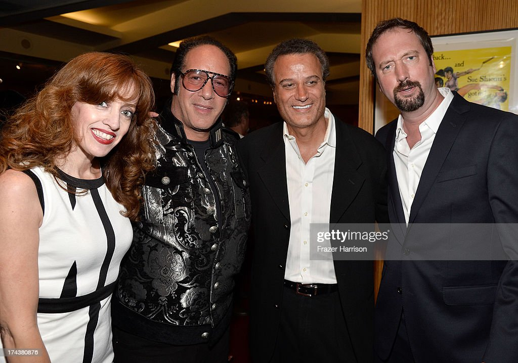 Eleanor Kerrigan, actor/comedian <a gi-track='captionPersonalityLinkClicked' href=/galleries/search?phrase=Andrew+Dice+Clay&family=editorial&specificpeople=678985 ng-click='$event.stopPropagation()'>Andrew Dice Clay</a>, Tommy Habeeb and actor/comedian <a gi-track='captionPersonalityLinkClicked' href=/galleries/search?phrase=Tom+Green&family=editorial&specificpeople=208982 ng-click='$event.stopPropagation()'>Tom Green</a> attend the after party for the premiere of 'Blue Jasmine' hosted by AFI & Sony Picture Classics at AMPAS Samuel Goldwyn Theater on July 24, 2013 in Beverly Hills, California.