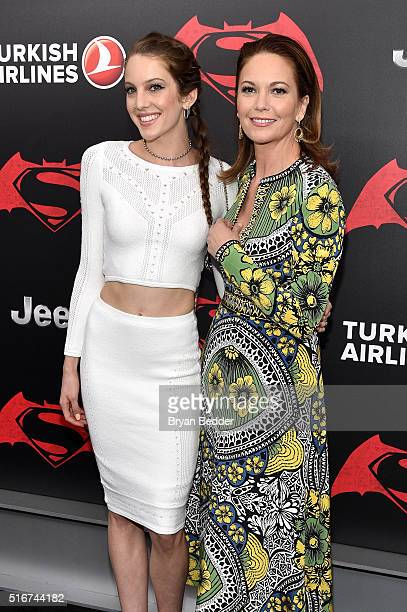 Eleanor Lambert and Diane Lane attend the launch of Bai Superteas at the 'Batman v Superman Dawn of Justice' premiere on March 20 2016 in New York...