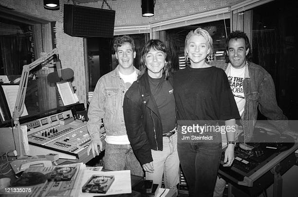 Eleanor Mondale and David Cassidy pose for a portrait in the radio broadcast studio of WLOL in Minneapolis Minnesota in 1994