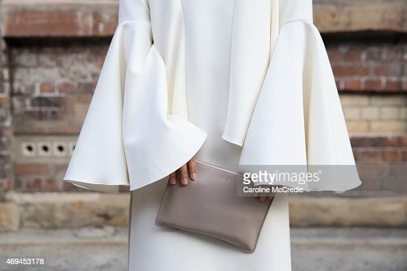 Eleanor Pendleton detail wearing Ellery dress Christian Louboutin shoes and a Daily Edited clutch at MercedesBenz Fashion Week Australia 2015 at...