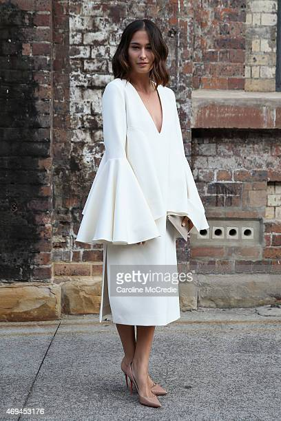 Eleanor Pendleton wearing Ellery Christian Louboutin shoes and a Daily Edited clutch at MercedesBenz Fashion Week Australia 2015 at Carriageworks on...