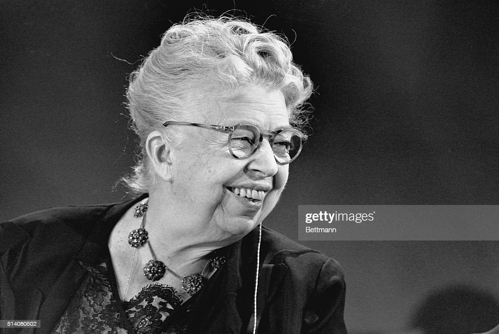 <a gi-track='captionPersonalityLinkClicked' href=/galleries/search?phrase=Eleanor+Roosevelt&family=editorial&specificpeople=93348 ng-click='$event.stopPropagation()'>Eleanor Roosevelt</a> acted as hostess for taping of the educational television symposium 'Prospects of Mankind'. The former First Lady was permanent hostess for the TV series. The wire on left side of her head is connected to a hearing aid.