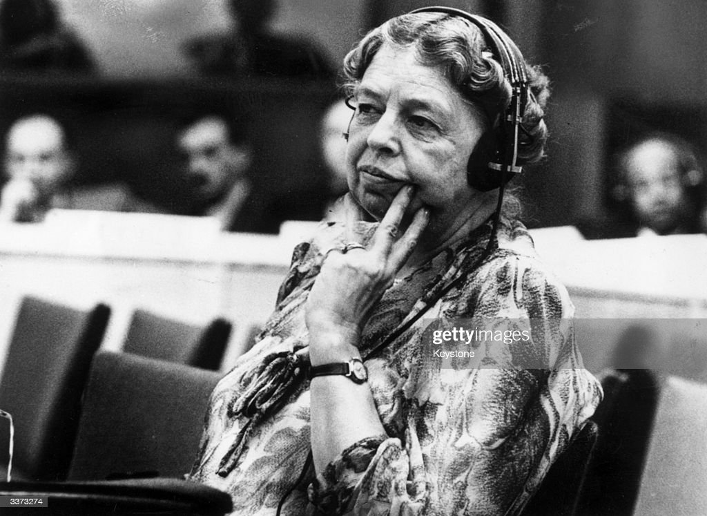 <a gi-track='captionPersonalityLinkClicked' href=/galleries/search?phrase=Eleanor+Roosevelt&family=editorial&specificpeople=93348 ng-click='$event.stopPropagation()'>Eleanor Roosevelt</a> (1884 - 1962) American author, lecturer, ambassador, social activist and wife of the 32nd President Franklin D Roosevelt. A representative to the United Nations, she is listening through headphones during a conference at the temporary UN headquarters at Lake Success, New York.