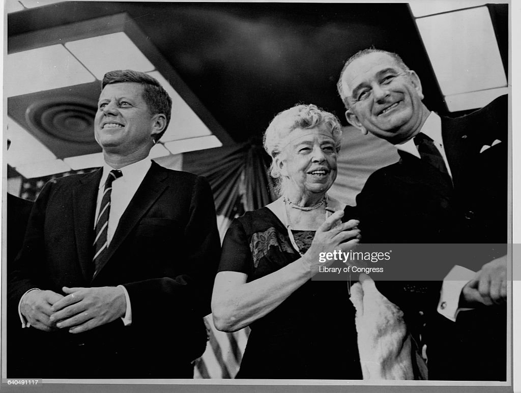 <a gi-track='captionPersonalityLinkClicked' href=/galleries/search?phrase=Eleanor+Roosevelt&family=editorial&specificpeople=93348 ng-click='$event.stopPropagation()'>Eleanor Roosevelt</a> appears at a rally at the New York Coliseum in November 1960 in support of presidential candidate <a gi-track='captionPersonalityLinkClicked' href=/galleries/search?phrase=John+F.+Kennedy+-+US+President&family=editorial&specificpeople=70027 ng-click='$event.stopPropagation()'>John F. Kennedy</a> (left) and his running mate, Lyndon B. Johnson.