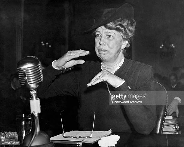 Eleanor Roosevelt as she appeared before a committee investigating civilian defense Washington DC 1942 She is the assistant director of the Office of...
