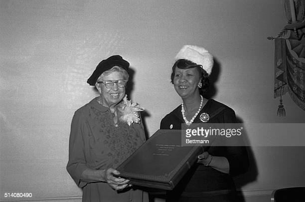 Eleanor Roosevelt is presented the Mary McLeod Bethune Human Rights Award by Dorothy Height President of the National Council of Negro Women