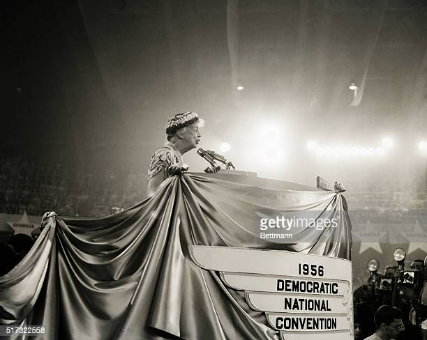 Eleanor Roosevelt widow of the late President Franklin D Roosevelt is shown as she addresses delegates to the 1956 Democratic National Convention The...