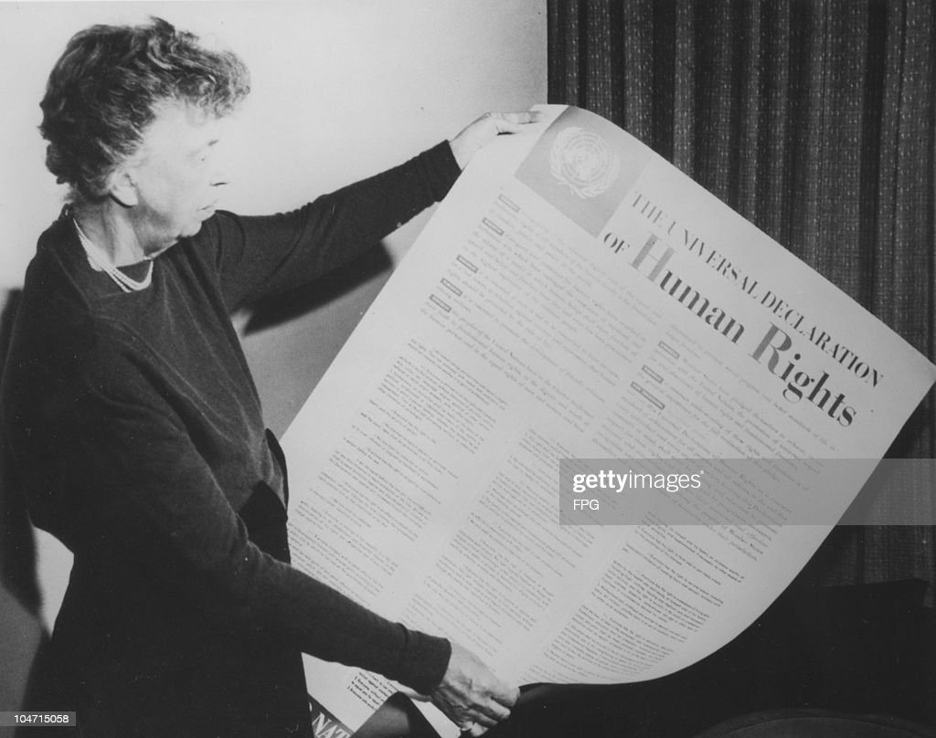 <a gi-track='captionPersonalityLinkClicked' href=/galleries/search?phrase=Eleanor+Roosevelt&family=editorial&specificpeople=93348 ng-click='$event.stopPropagation()'>Eleanor Roosevelt</a> (1884-1962), wife of Franklin Delano Roosevelt and First Lady of the United States from 1933 to 1945, holds up the Universal Declaration of Human Rights (UDHR)k, USA, 1948. (
