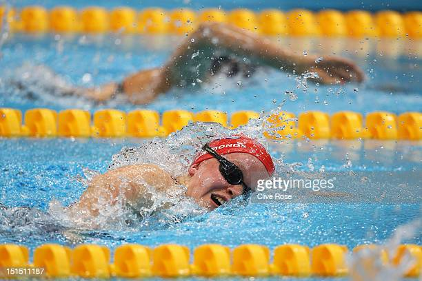 Eleanor Simmonds of Great Britain competes in the Women's 100m Freestyle S6 final on day 10 of the London 2012 Paralympic Games at Aquatics Centre on...