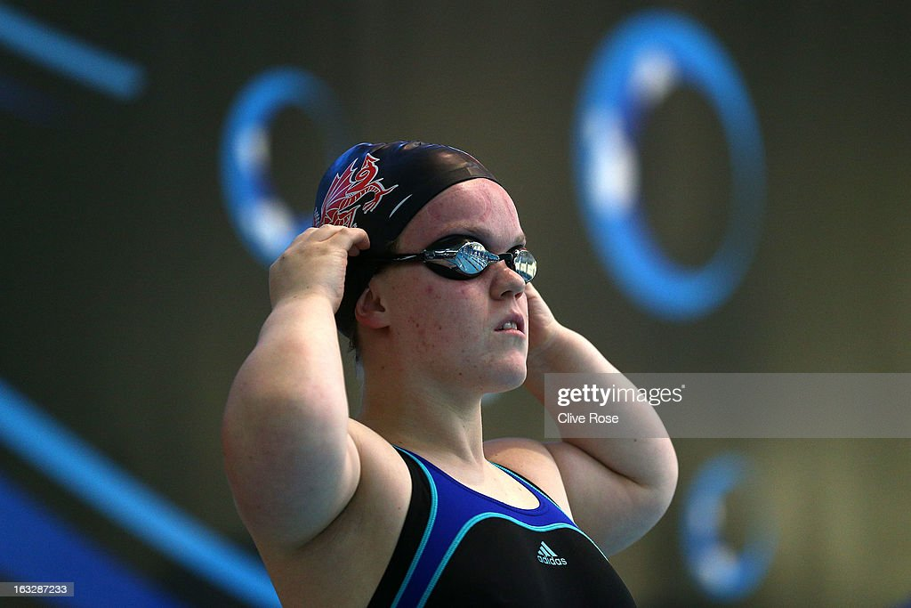<a gi-track='captionPersonalityLinkClicked' href=/galleries/search?phrase=Eleanor+Simmonds+-+Swimmer&family=editorial&specificpeople=4132578 ng-click='$event.stopPropagation()'>Eleanor Simmonds</a> prepares to compete in the Women's MC 100m Backstroke heats on Day One of the 2013 British Gas International Meeting at John Charles Centre for Sport on March 7, 2013 in Leeds, England.