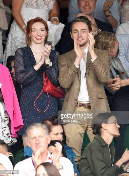 Eleanor Tomlinson and brother Ross Tomlinson attend day twelve of the Wimbledon Tennis Championships at the All England Lawn Tennis and Croquet Club...
