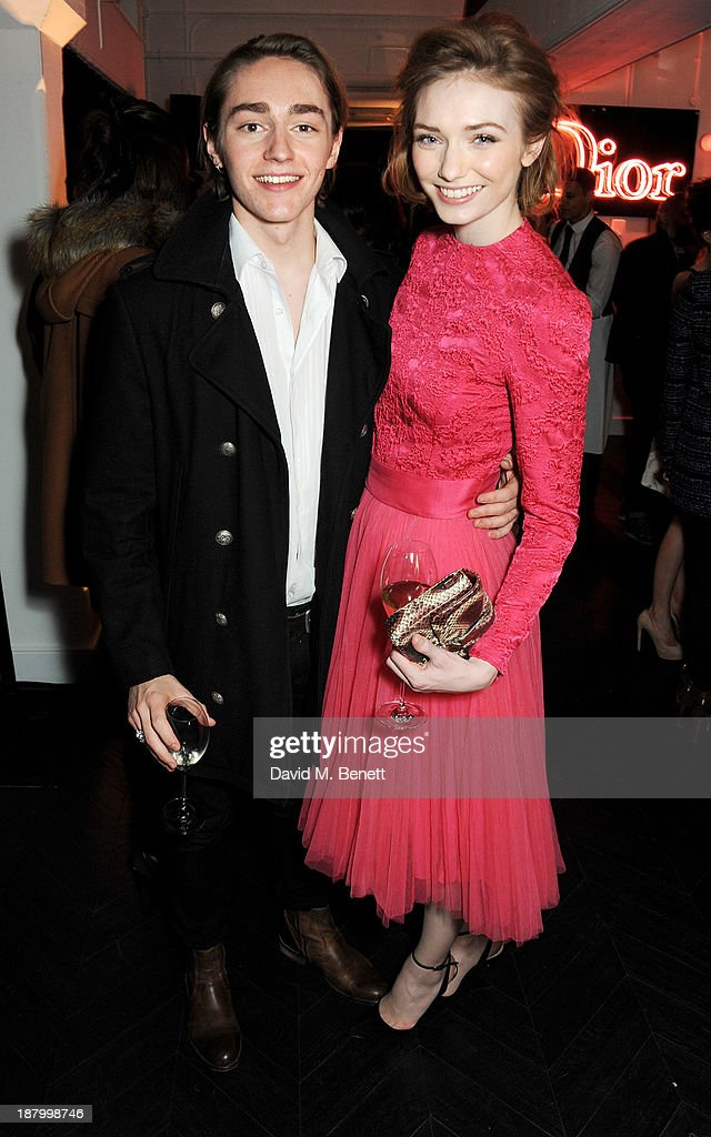 Eleanor Tomlinson (R) and brother Ross Tomlinson attend the opening of the Dior Beauty Boutique in Covent Garden on November 14, 2013 in London, England.