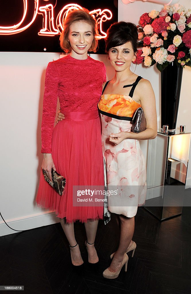 Eleanor Tomlinson (L) and Ophelia Lovibond attend the opening of the Dior Beauty Boutique in Covent Garden on November 14, 2013 in London, England.
