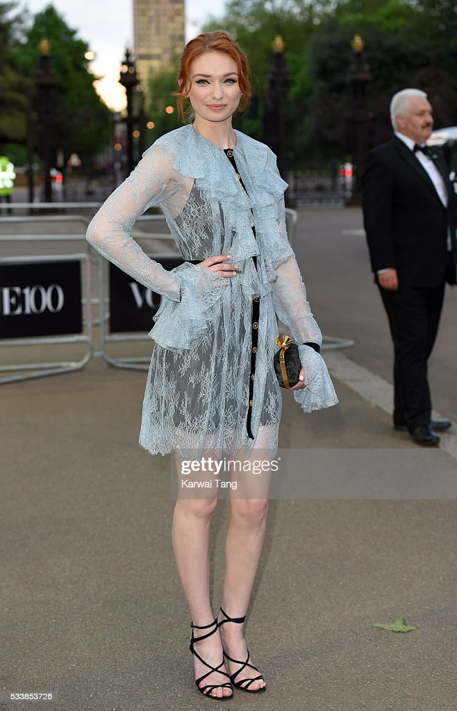 Eleanor Tomlinson arrives for the Gala to celebrate the Vogue 100 Festival at Kensington Gardens on May 23 2016 in London England