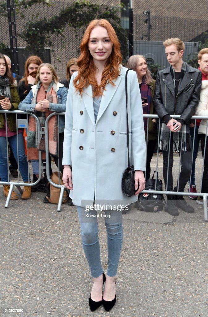 Eleanor Tomlinson arrives for the Topshop Unique show at Tate Modern on Day 3 of London Fashion Week on February 19, 2017 in London, England.