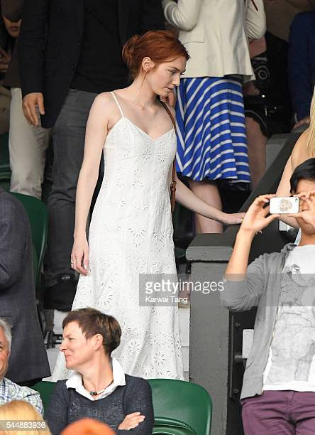 Eleanor Tomlinson attends day eight of the Wimbledon Tennis Championships at Wimbledon on July 04 2016 in London England