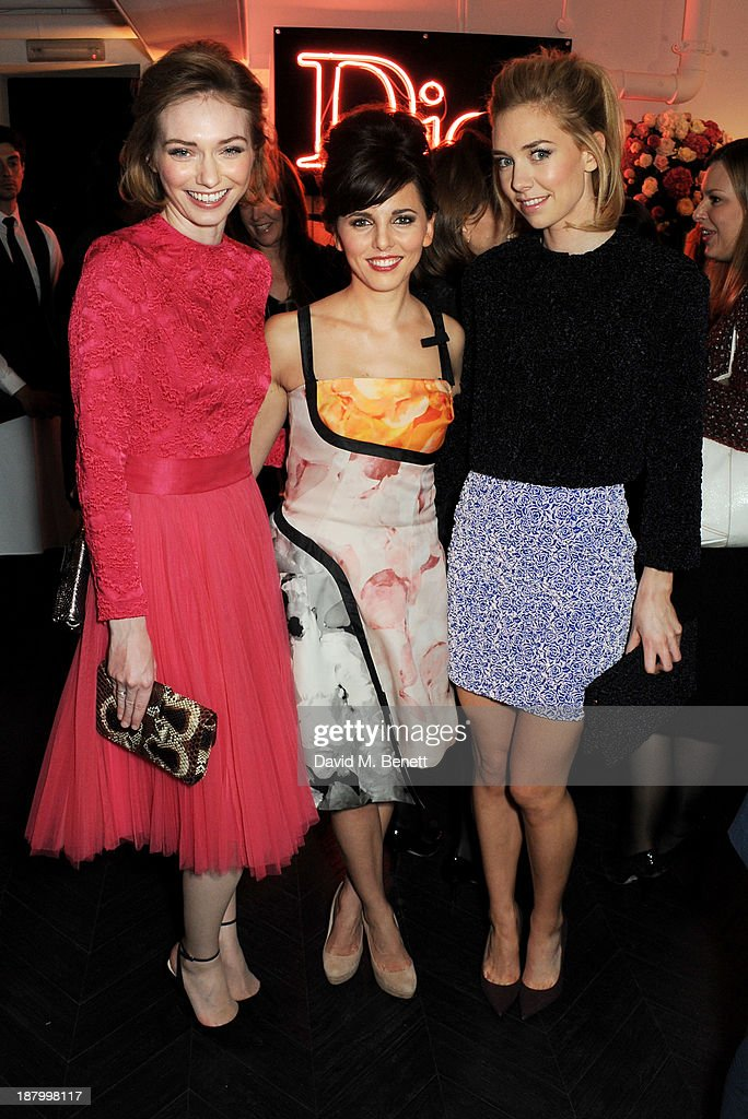 Eleanor Tomlinson, Ophelia Lovibond and Vanessa Kirby attend the opening of the Dior Beauty Boutique in Covent Garden on November 14, 2013 in London, England.
