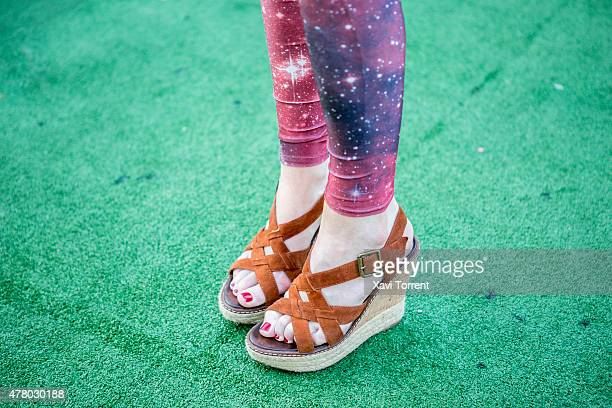 Eleanor wears Black Milk dress and Dune sandals during Sonar Music Festival on June 20 2015 in Barcelona Spain