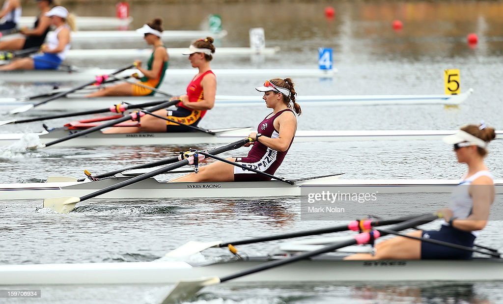 Eleanor Wilson of Queensland competes in the Women's Singles Sculls at the rowing on day four of the Australian Youth Olympic Festival at Sydney International Regatta Centre on January 19, 2013 in Sydney, Australia.