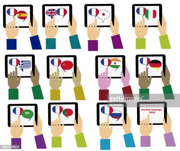 E-learning. Francese Mobile dizionario. Apprendimento di lingue online :