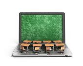 E-learning online education concept school desks on laptop keyboard 3d render on white