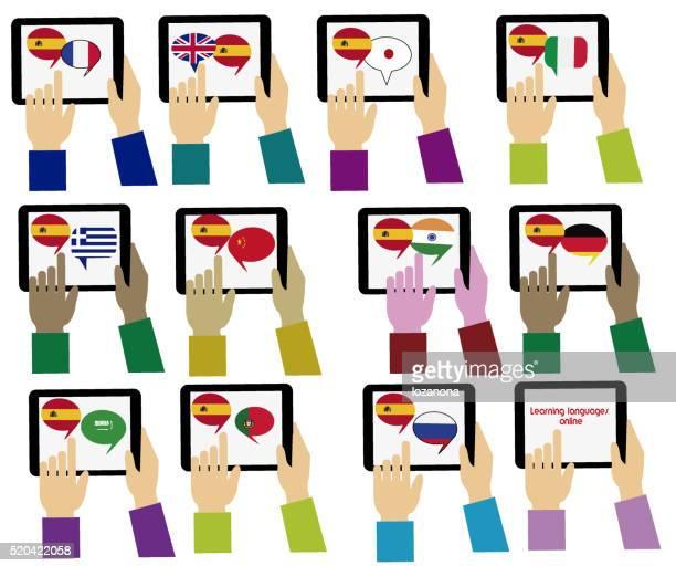 E-learning. Spagnolo Mobile dizionario. Apprendimento di lingue online