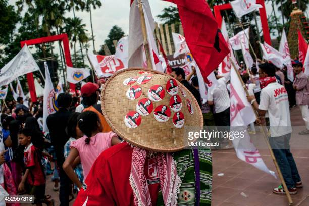 Elected Indonesian President Joko Widodo's supporters attend victory celebrations on July 23 2014 in Jakarta Indonesia Widodo was declared the winner...