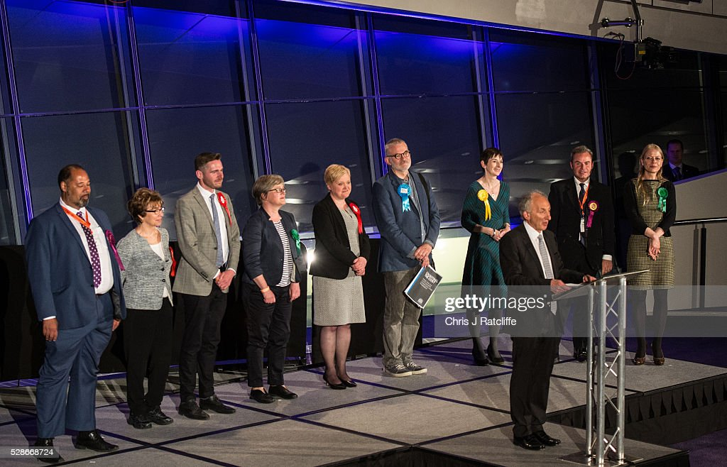 Elected members of the London Assembly are announced on stage at City Hall on May 06, 2016 in London, England. This is the fifth mayoral election since the position was created in 2000. Previous London Mayors are Ken Livingstone for Labour and more recently Boris Johnson for the Conservatives. The main candidates for 2016 are Sadiq Khan, Labour, Zac Goldsmith, Conservative, Sian Berry, Green, Caroline Pidgeon, Liberal Democrat, George Galloway, Respect, Peter Whittle, UKIP and Sophie Walker, Wonmen's Equality Party.