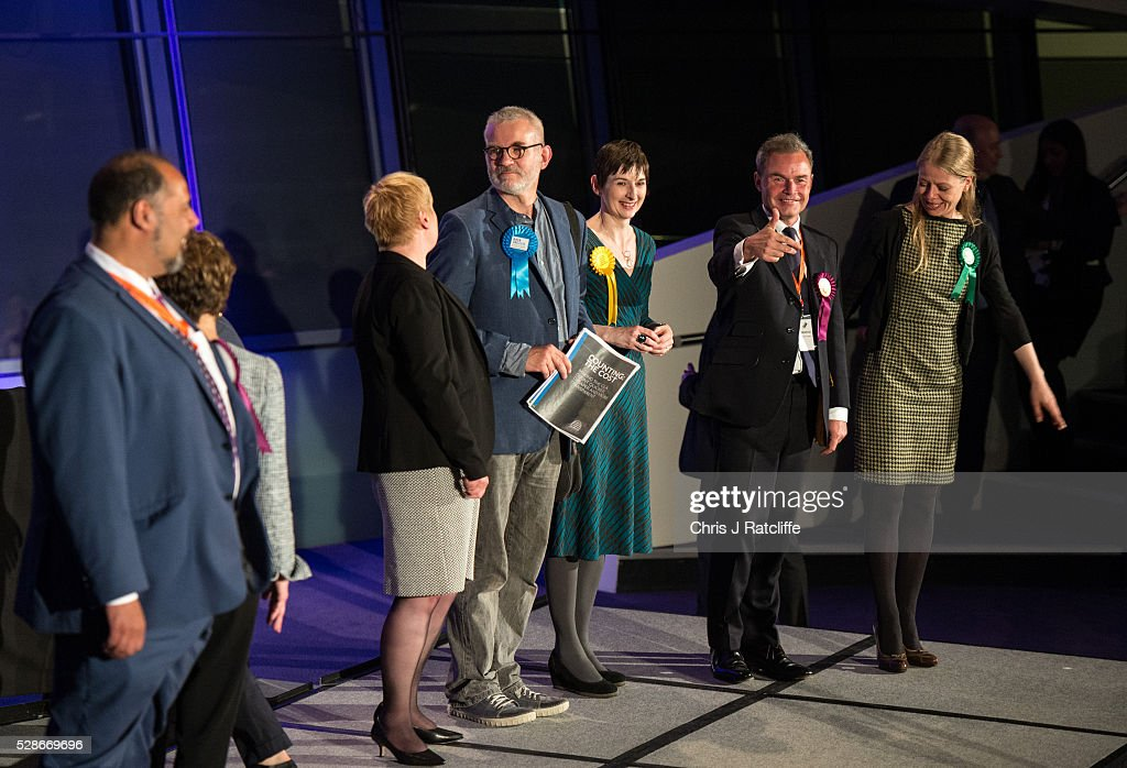 Elected members of the London Assembly are announced on stage at City Hall as Peter Whittle (UKIP) gives a thumbs up next to Sian Berry (Green) and Caroline Pidgeon (Liberal Democrat) on May 06, 2016 in London, England. This is the fifth mayoral election since the position was created in 2000. Previous London Mayors are Ken Livingstone for Labour and more recently Boris Johnson for the Conservatives. The main candidates for 2016 are Sadiq Khan, Labour, Zac Goldsmith, Conservative, Sian Berry, Green, Caroline Pidgeon, Liberal Democrat, George Galloway, Respect, Peter Whittle, UKIP and Sophie Walker, Wonmen's Equality Party.