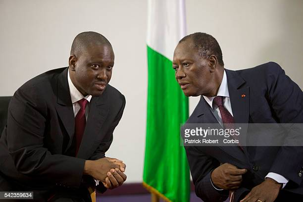 Elected President Alassane Ouattara and Prime Minister Guillaume Soro meet with the generals of the Ivorian Army Elected President Alassane Ouattara...