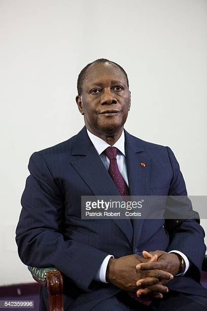 Elected President Alassane Ouattara and Prime Minister Guillaume Soro meet with the generals of the Ivoirian army to received their oath of...