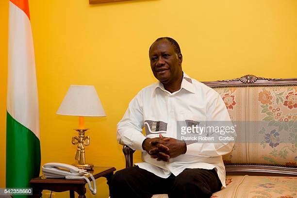 Elected President Alassane Ouattara at his office at the Hotel du Golfe in Abidjan