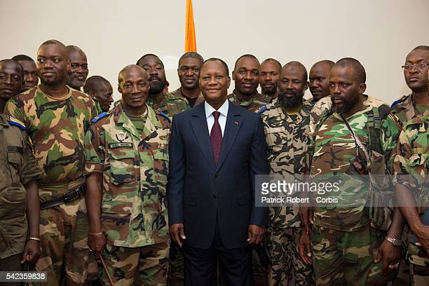Elected President Alassane Ouattara meet with the generals of the Refublican Forces to greet them on their loyalty and their help to oust Laurent...