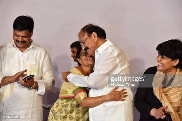 Elected Vice President M Venkaiah Naidu with his wife and family members after Vice Presidential Election at his residence on August 5 2017 in New...