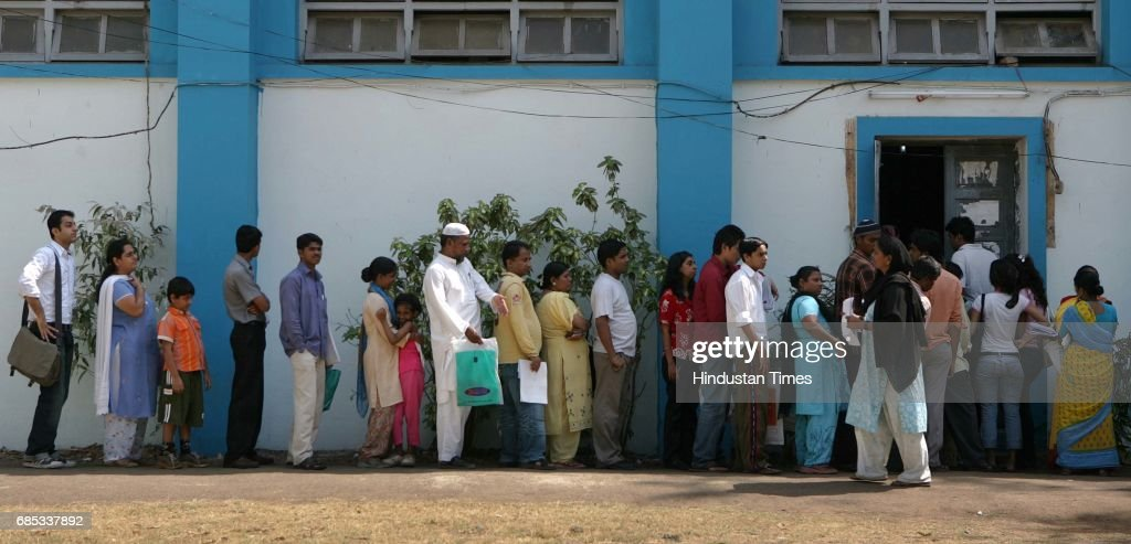 Voters getting themselves registered for the upcoming Lok Sabha election at a registration center at Khar on Wednesday.