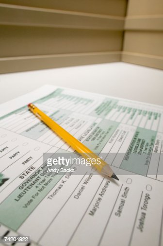 Election ballot with pencil, close-up