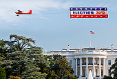 Election banner being flown over the White House