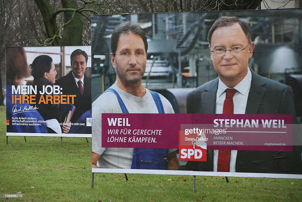 Election campaign billboards featuring Hanover Mayor and German Social Democrats (SPD) candidate Stephan Weil (R) and Lower Saxony Governor and incumbent candidate of the German Christian Democrats (CDU) David McAllister stand on January 5, 2013 in Hanover, Germany. Lower Saxony is holding state elections on January 20 and many analysts see the election as a bellwether for national elections scheduled to take place later this year.