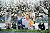 Election campaign billboards featuring lead candidate of the German Christian Democrats Julia Kloeckner stand on February 19 2016 in Mainz Germany...