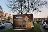 Election campaign billboards featuring lead candidate of the German Christian Democrats Julia Kloeckner with the slogan 'Fluechtlingszahlen...