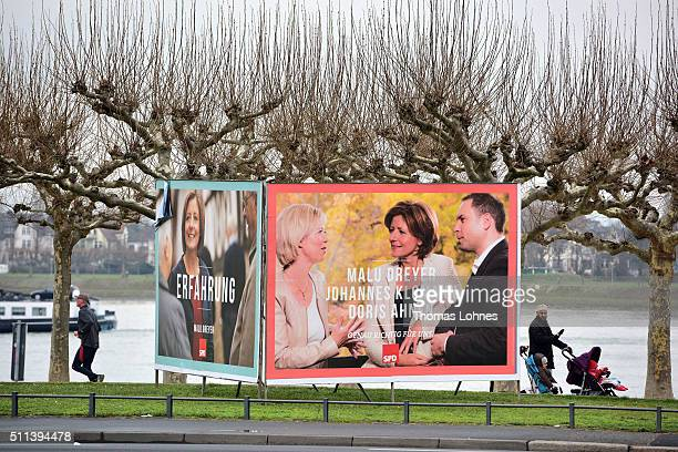 Election campaign billboards featuring lead candidate of the SPD the prime minister of RhinelandPalastinate Malu Dreyer stand on February 19 2016 in...