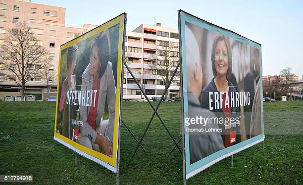 Election campaign billboards featuring lead candidate of the SPD the prime minister of RhinelandPalastinate Malu Dreyer stand on February 27 2016 in...