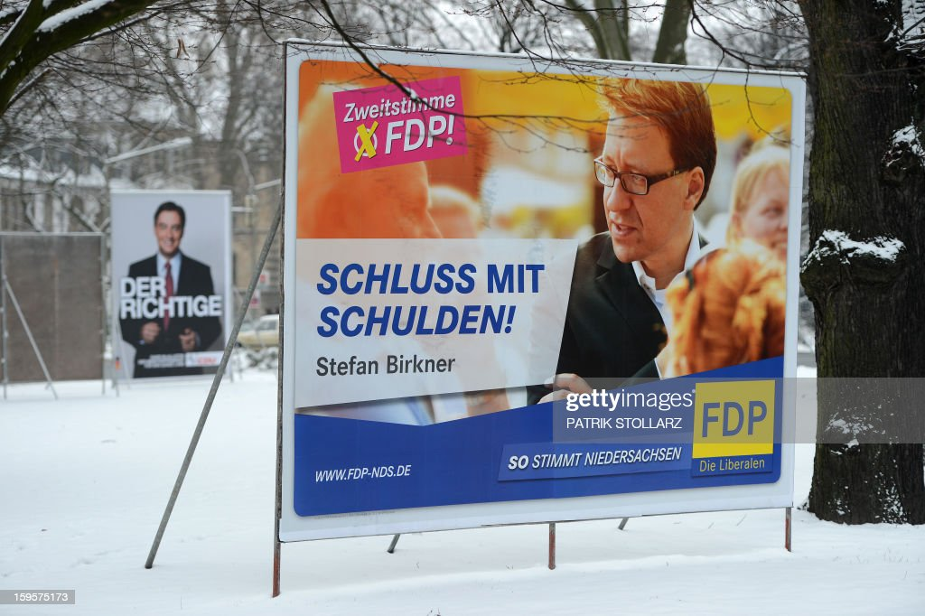 Election campaign billboards featuring Lower Saxony candidates of several parties are seen on January 16, 2013 in Osnabrueck, Germany. Lower Saxony is holding state elections on January 20, 2013 and many analysts see the election as a bellwether for national elections scheduled to take place later this year.