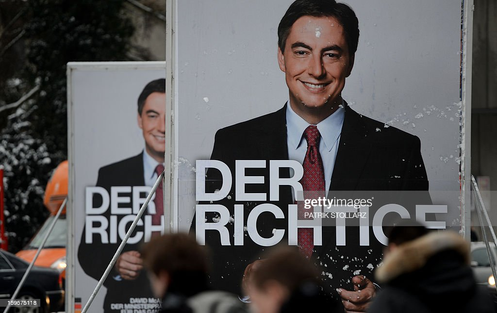 Election campaign billboards featuring Lower Saxony Governor and incumbent candidate of the German Christian Democrats (CDU) David McAllister is seen on January 16, 2013 in Osnabrueck, Germany. Lower Saxony is holding state elections on January 20, 2013 and many analysts see the election as a bellwether for national elections scheduled to take place later this year. AFP PHOTO / PATRIK STOLLARZ