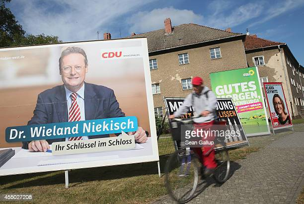 Election campaign billboards for upcoming Brandenburg state elections stand on September 9 2014 in Potsdam Germany Both the states of Brandenburg and...