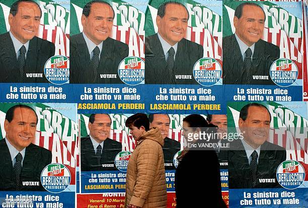 Election campaign in Italy posters of Silvio Berlusconi invade Rome General elections will be held in Italy next April 9 Berlusconi runs again...