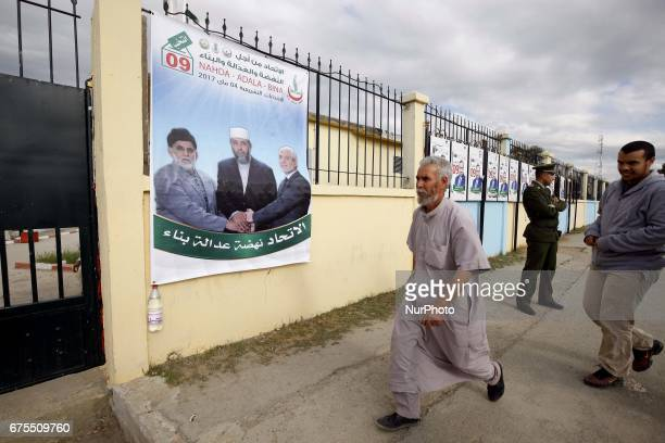 Election campaign posters for the upcoming parliamentary elections in Algiers Algeria on 30 April 2017