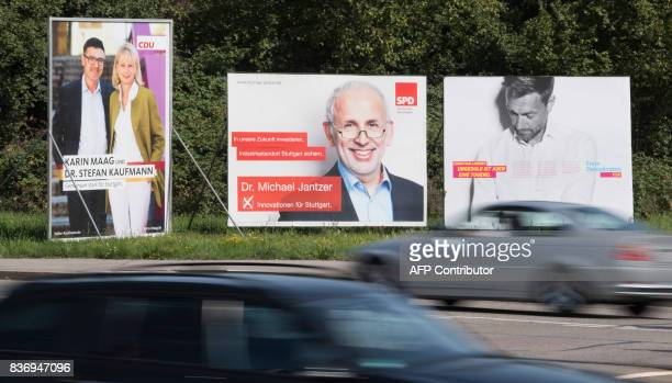 Election campaign posters of the Christian Democratic Union CDU the Social Democratic Party SPD and the Free Democratic Party FDP are displayed in...